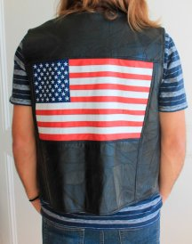 American Flag Men Leather Vest