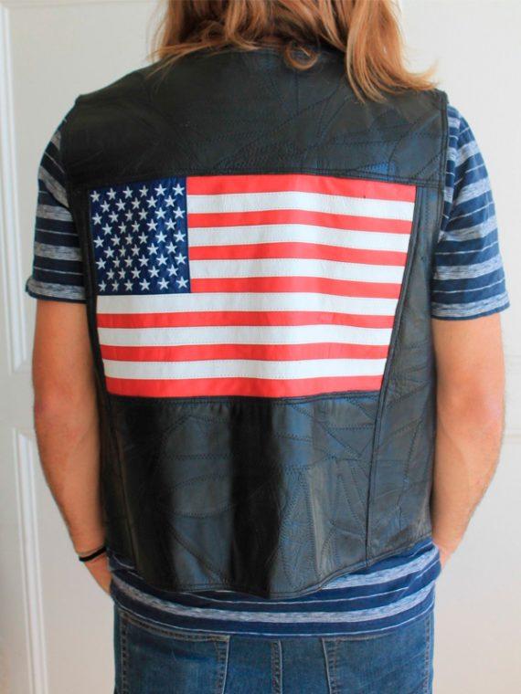 American Flag Men Leather Vest