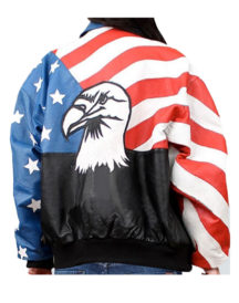 American Flag Stylish Women Leather Jacket