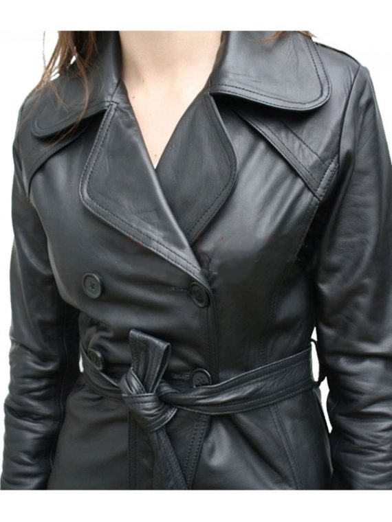 Classic Women Black Leather Coat
