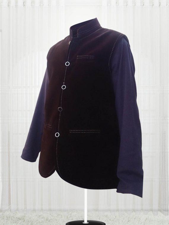Custom Made Dark Brown Suede Men Vest