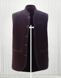 Custom Made Dark Brown Suede Men Vests