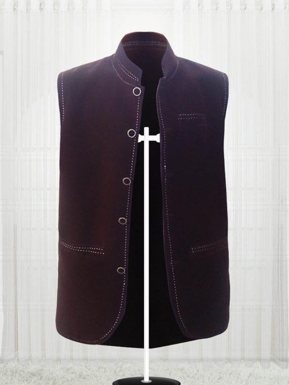 Custom Made Dark Brown Suede Men Vests
