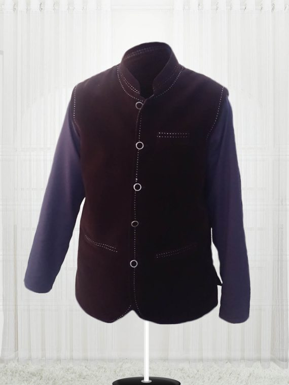 Custom Made Dark Brown Suede Vest