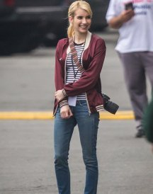 Emma Roberts Nerve Vee Red Satin Jacket