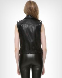 Ladies Motorcycle Black Leather Vest