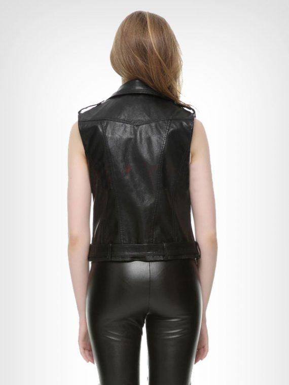 Ladies Motorcycle Black Leather Vest