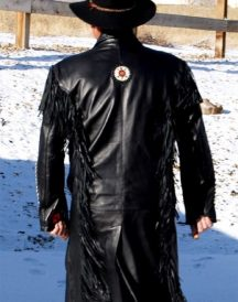 Motokit Men Western Leather Cowboy Long Coats