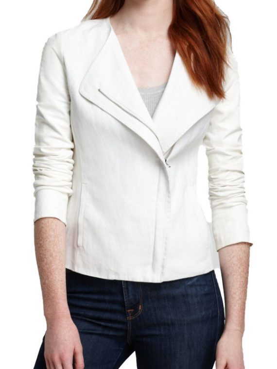 New Stylish Women White Leather Jacket