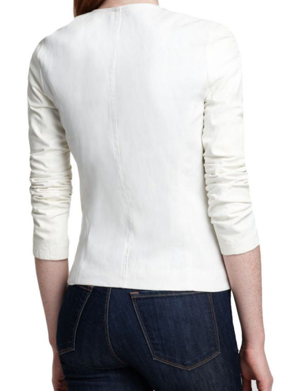 New Stylish Women White Leather Jackets