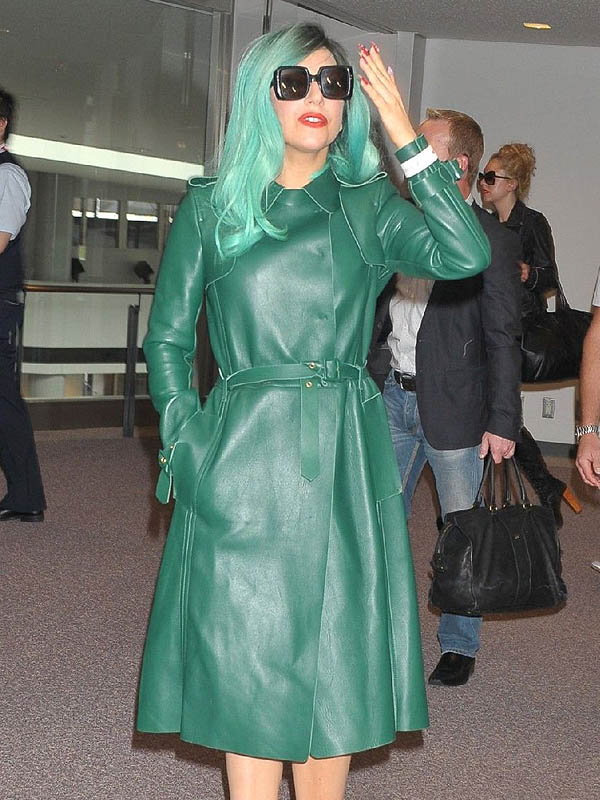 7c12c5e640a Fashionable Lady Gaga Green Leather Coat - Stars Jackets