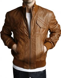 4 Pockets Slim Fit Bomber Leather Jacket