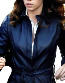 A Team Jessica Biel Navy Blue Coat