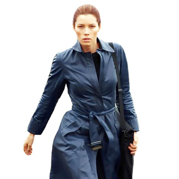 A Team Jessica Biel Navy Blue Long Leather Coat