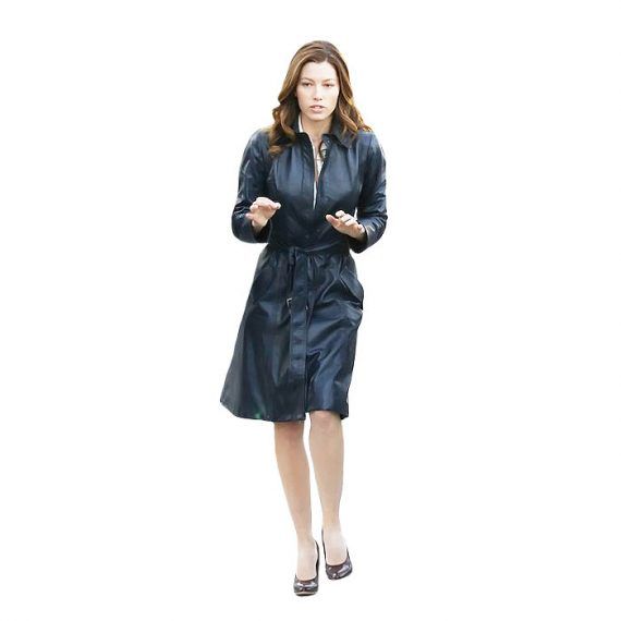 A Team Jessica Biel Navy Blue Long Leather Coats