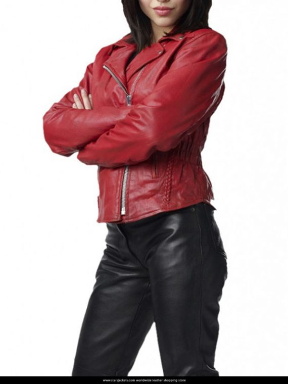 Alyssa Diaz Ben 10 Alien Swarm Elena Validus Leather Red Jacket