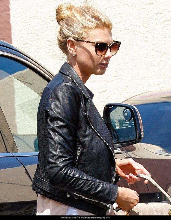 American Model Charlotte McKinney Black Leather Jacket