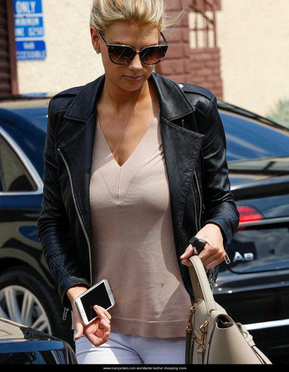 American Model Charlotte McKinney Leather Jacket