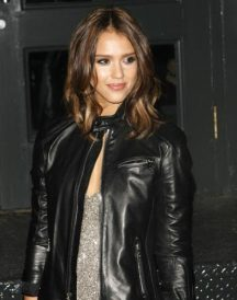 American Movie Actress Jessica Alba Stylish Black Jacket