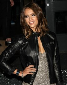 American Movie Actress Jessica Alba Stylish Black Leather Jacket