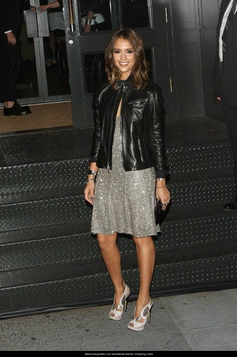 American Movie Actress Jessica Alba Stylish Black Leather Jackets
