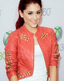 Ariana Grande Red Leather Studded Jackets