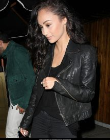 Ashley Madekwe Double Date with Their Men Black leather Jackets