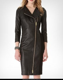 Ashley Roberts Black Long Leather Coat Dress