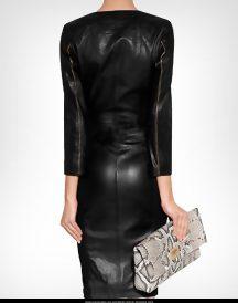 Ashley Roberts Black Long Leather Coats Dress