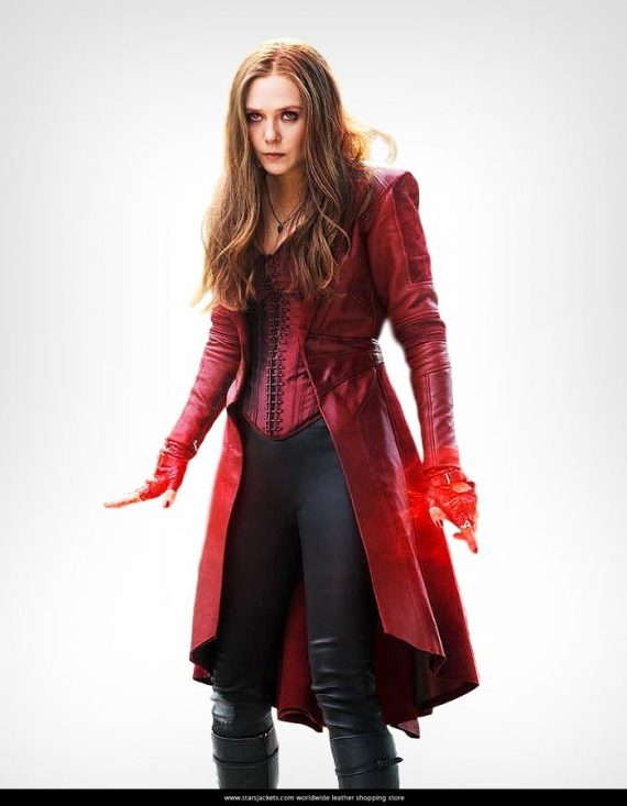 Avengers Captain America Civil War Scarlet Witch Red Costume Coat
