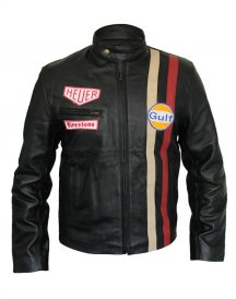 Bike Rider Steve McQueen HEUER GrandPrix Leather Jacket