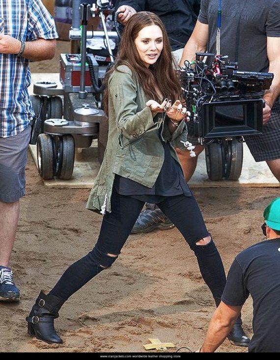 Captain America Civil War Elizabeth Olsen Scarlet Witch Green Jackets