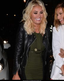 Chloe Sims Wears a Black Leather Jackets