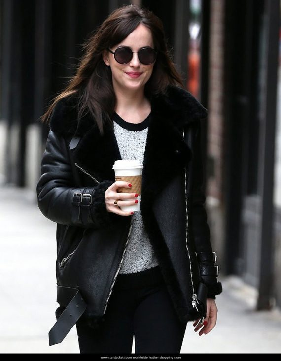 Dakota Johnson Black Leather Jacket