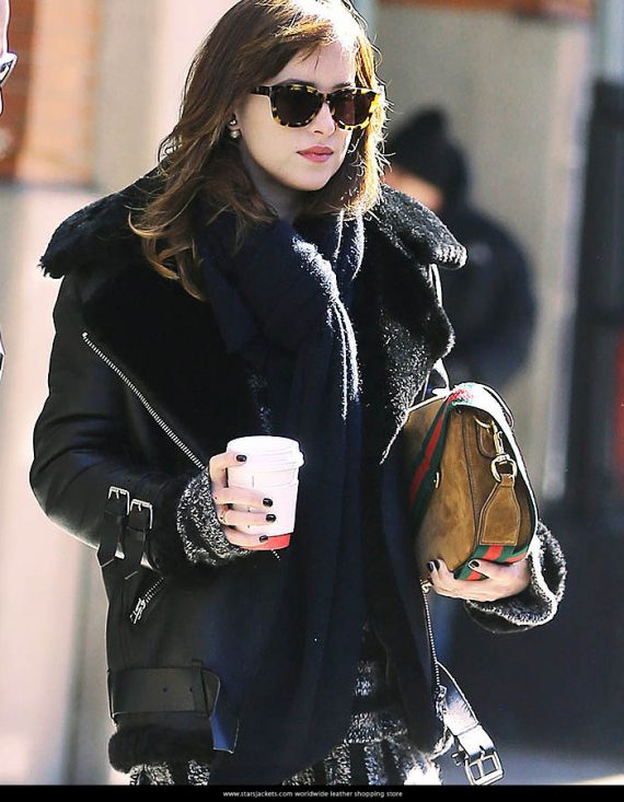 Dakota Johnson Black Leather Jackets