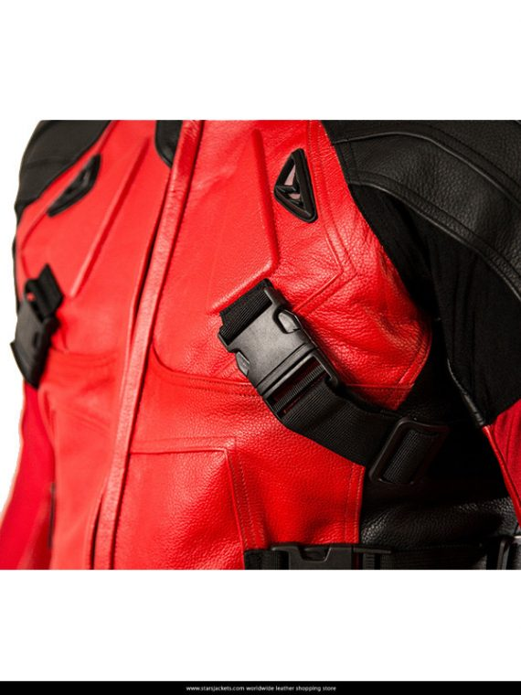 Deadpool Red Costume Biker Leather Jacket