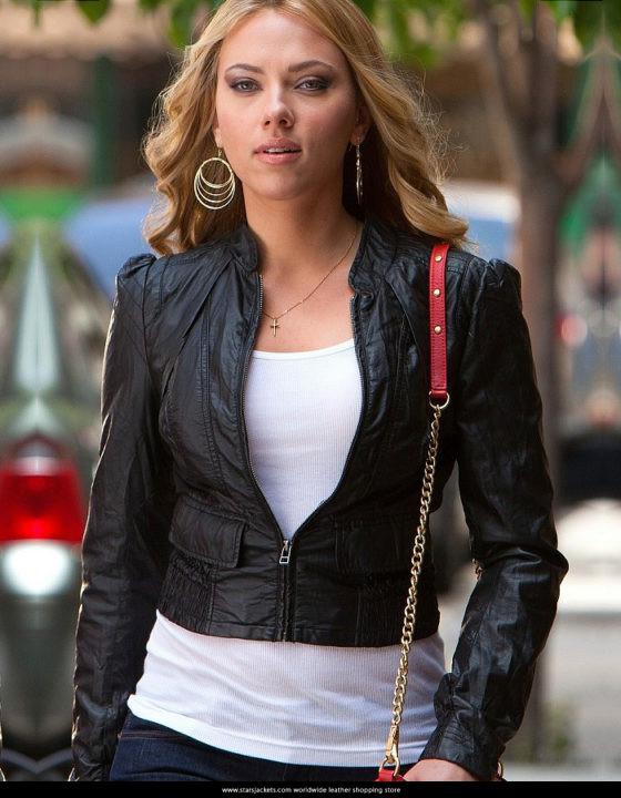 Don Jon Movie Scarlett Johansson Leather Jacket