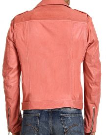 Double Breasted Studded Peach Slimfit Belted Biker Jackets