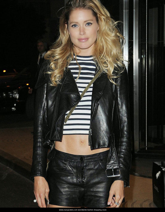 Doutzen Kroes Black Leather Jacket