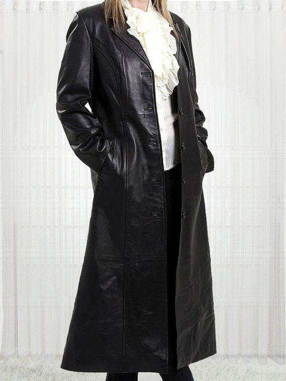Margot Australian Movie Actress Robbie Leather Coat