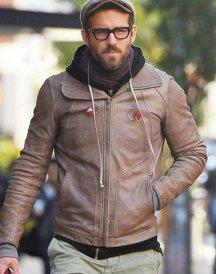 Ryan Reynolds Motorcycle Brown Leather Jacket