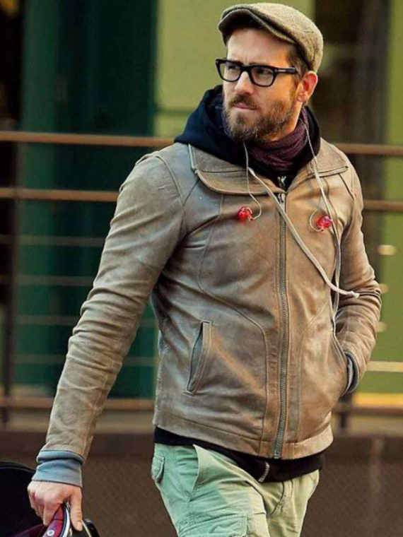 Ryan Reynolds Motorcycle Brown Leather Jackets