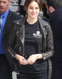 Shailene Woodley Black Leather Jacket