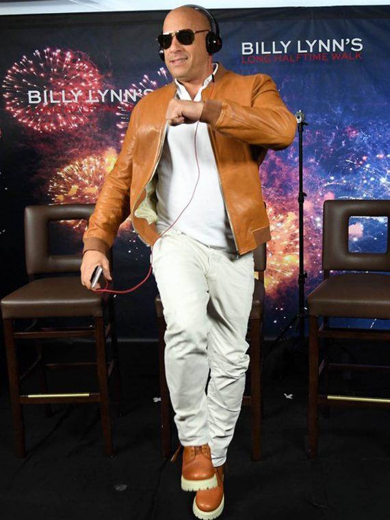 Vin Diesel Billy Lynn Long Halftime Walk Leather Jacket
