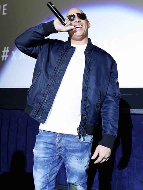 Vin Diesel xXx 3 LA Screening Navy Blue Satin Jacket