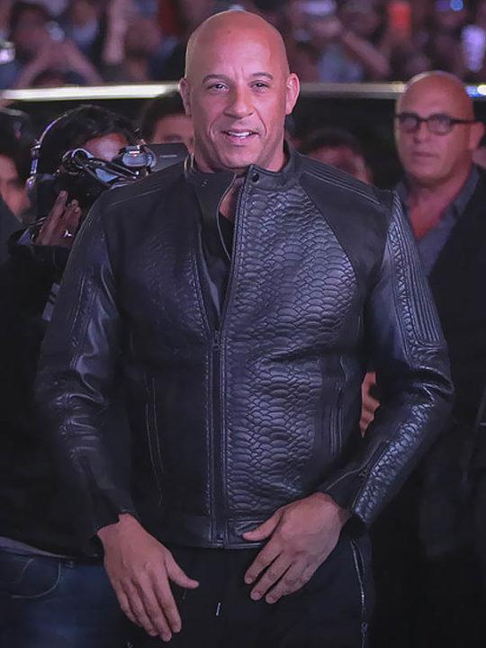 Vin Diesel xXx 3 Movie Premiere Crocodile Black Leather Jacket