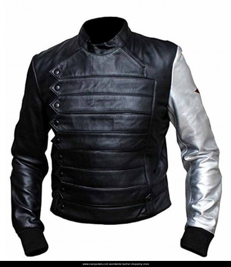 Winter Soldier Bucky Barnes Jacket With Silver Sleeve