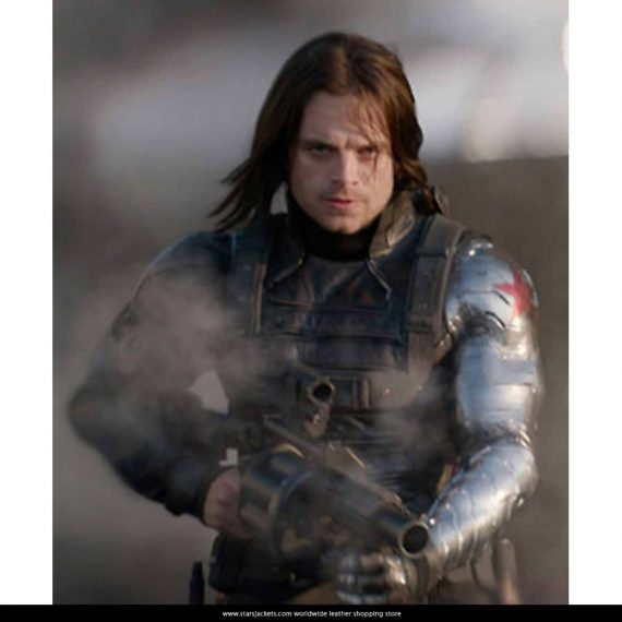 Winter Soldier Bucky Barnes Leather Jackets With Silver Sleeve
