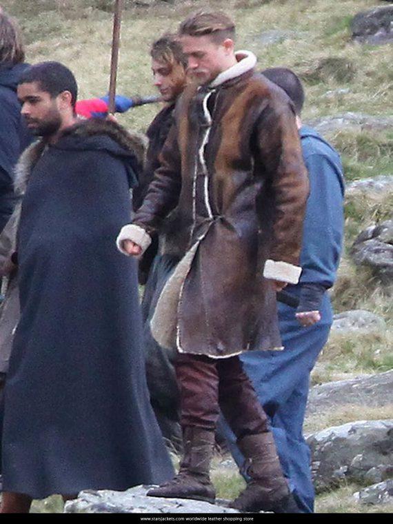 King Arthur Charlie Hunnam Fur Brown Coat