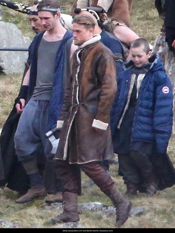 King Arthur Charlie Hunnam Fur Leather Coats